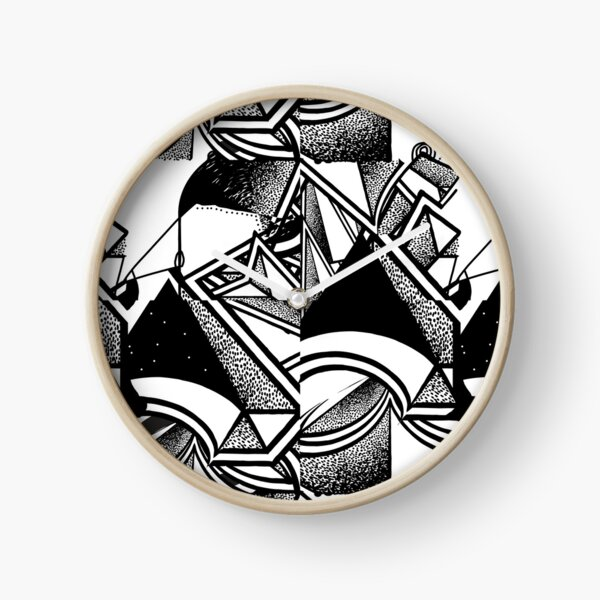 dotty geometric abstract black and white Clock