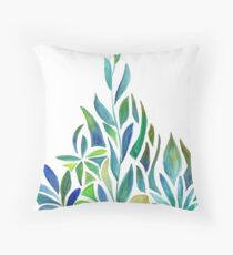 Blue & Green Watercolor Leaves Throw Pillow
