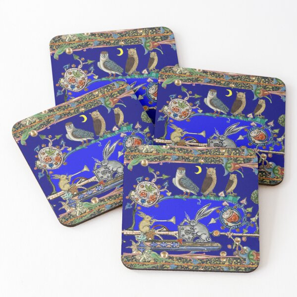 WEIRD MEDIEVAL BESTIARY MAKING MUSIC, Three Owls And Night Concert of Rabbits Coasters (Set of 4)