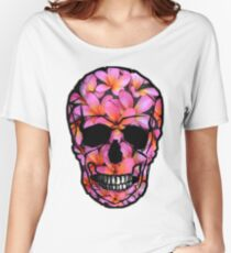 Skull with Pink Frangipani Flowers Women's Relaxed Fit T-Shirt