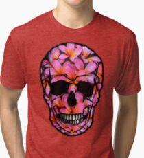 Skull with Pink Frangipani Flowers Tri-blend T-Shirt