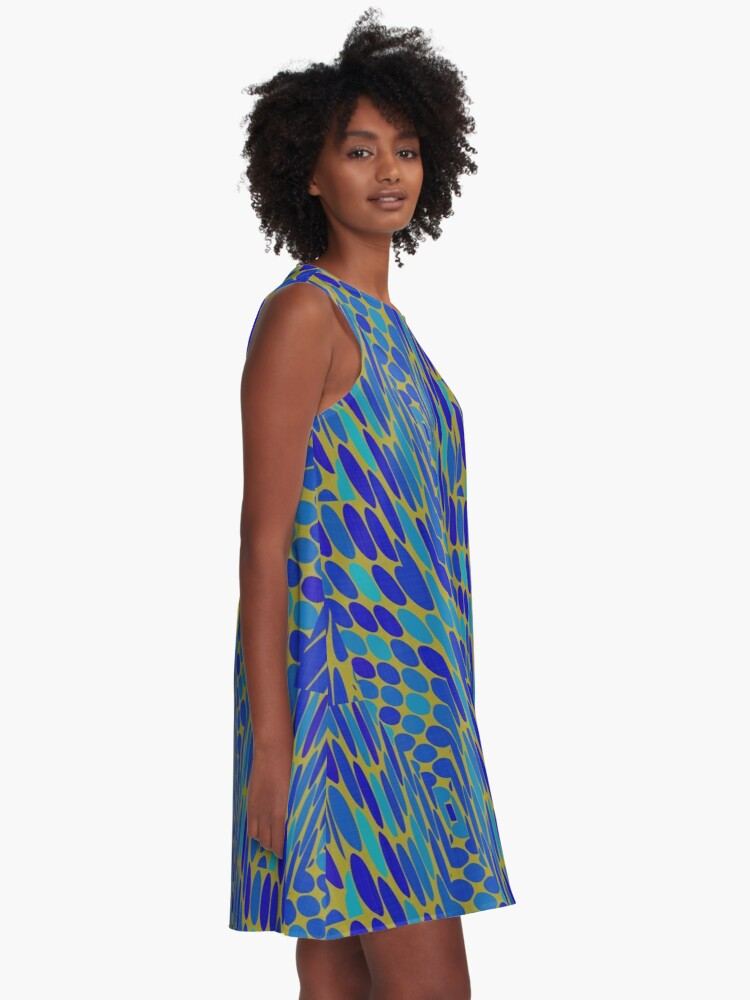 Alternate view of Modern Geometric Pattern Design 1368 A-Line Dress