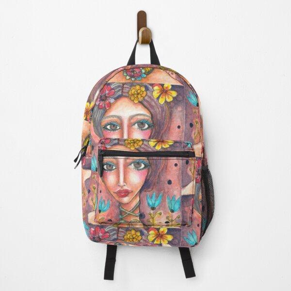 Frida Kahlo with Blue Tulips Backpack