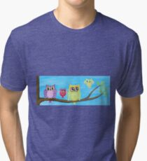 Owl Family on tree II Tri-blend T-Shirt