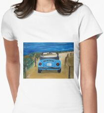 Blue VW bug at beach Womens Fitted T-Shirt