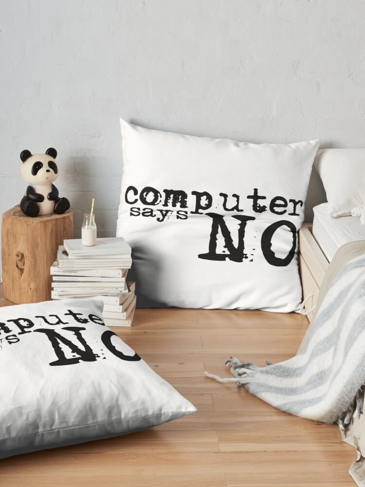 Alternate view of Computer says no - Black Floor Pillow