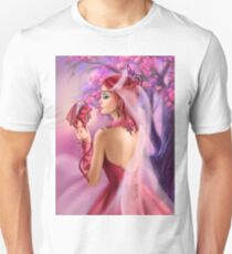 Beautiful fantasy woman queen and red dragon sakura background Unisex T-Shirt