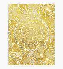 Medallion Pattern in Mustard and Cream Photographic Print