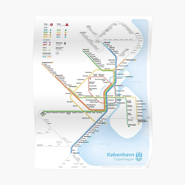 New rapid transit map of Copenhagen (December 14, 2020) Poster