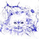 Abstract Ink - Purple Persian Cat by Michelle Wrighton