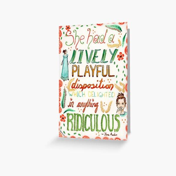 Jane Austen - Pride and Prejudice - Quote Greeting Card