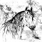 Abstract Ink - Black And White Arabian Horse II by Michelle Wrighton