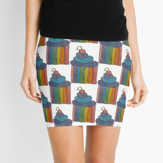 Rainbow Cupcakes with blueberry icing and cherry Mini Skirt