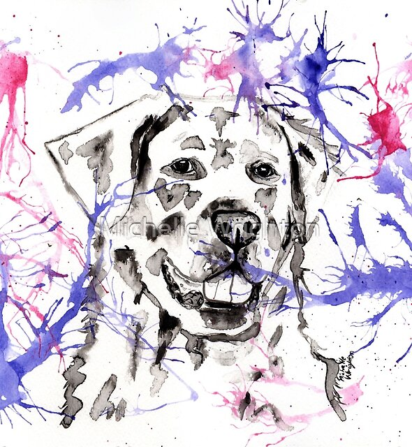 Abstract Ink - Golden Retriever Magenta and Purple by Michelle Wrighton
