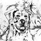 Abstract Ink - Golden Retriever Black and White by Michelle Wrighton