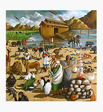 Noah and the Ark: Original Mural Painting, Bible Scene Photographic Print