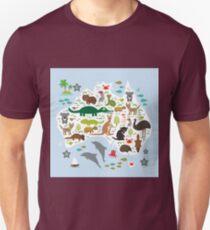 Australian animal map and ocean Unisex T-Shirt