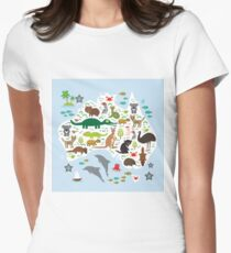 Australian animal map and ocean Womens Fitted T-Shirt
