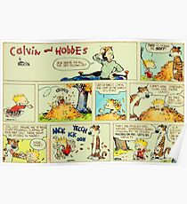 calvin and hobbes comic vintage Poster