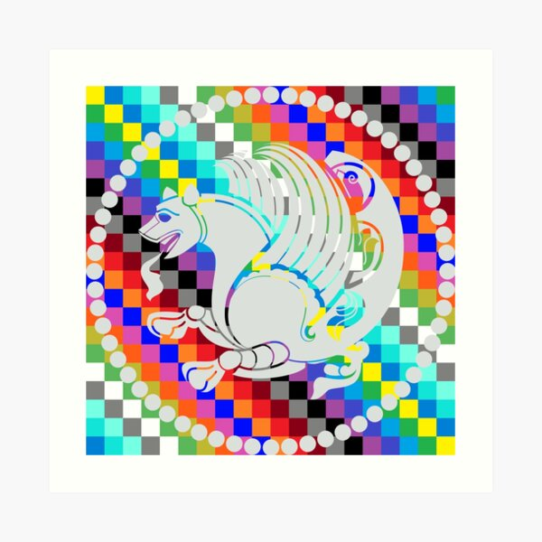 Simurgh Colored Squares Art Print