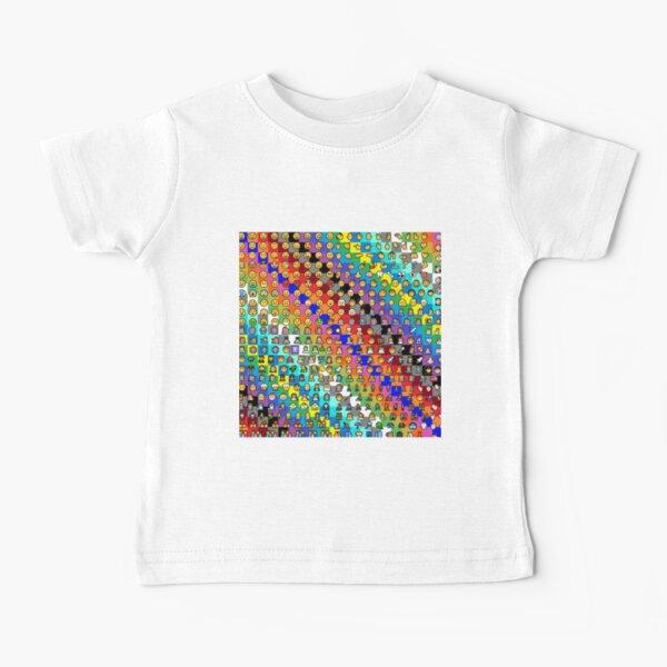 Emojis on Background of Colored Squares. Смайлики на фоне цветных квадратов Baby T-Shirt