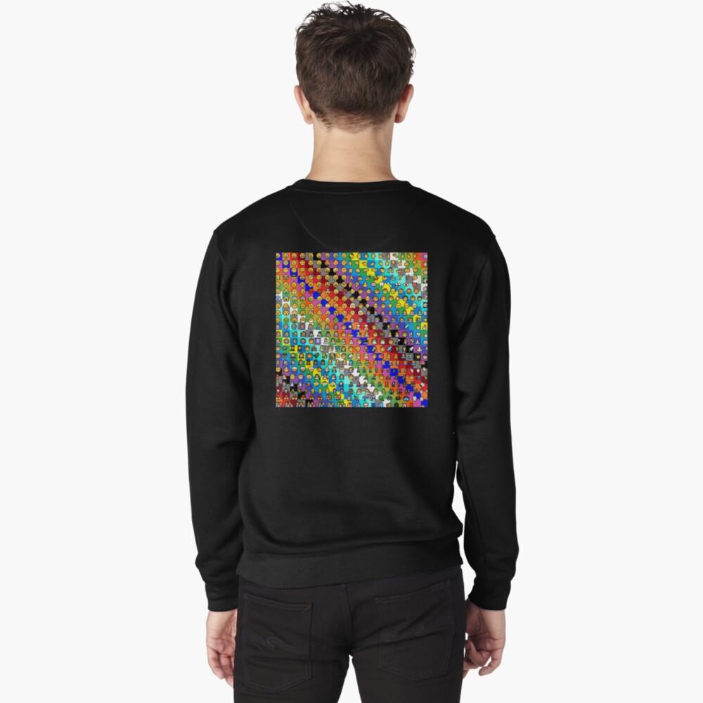 Emojis on Background of Colored Squares. Смайлики на фоне цветных квадратов Pullover Sweatshirt