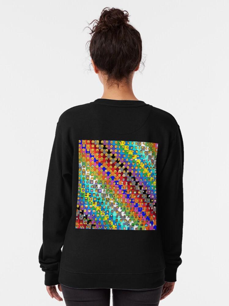 Alternate view of Emojis on Background of Colored Squares. Смайлики на фоне цветных квадратов Pullover Sweatshirt