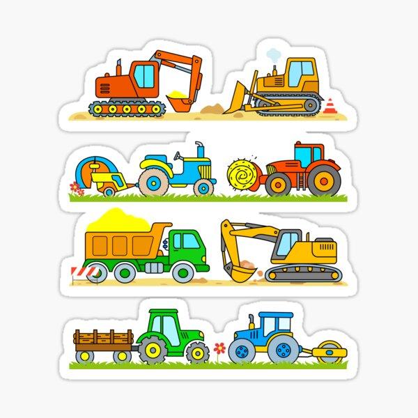 Digger Tractor Truck Hay Baler Bulldozer Construction Farm Vehicles for Kids  Sticker