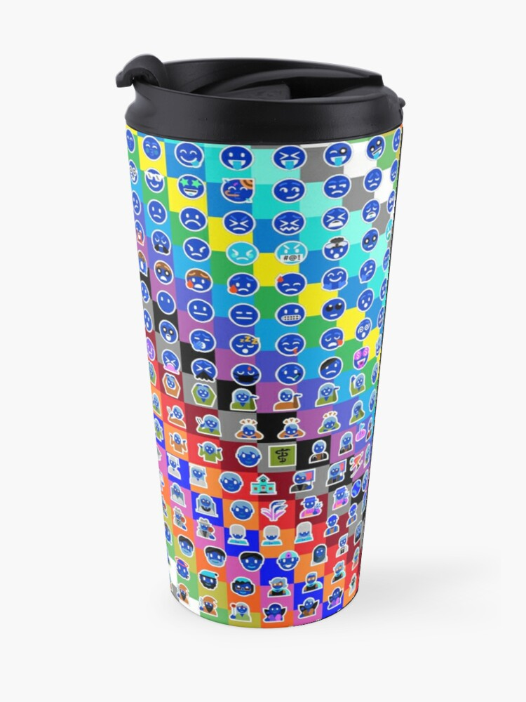 Alternate view of Emojis on Background of Colored Squares. Смайлики на фоне цветных квадратов Travel Mug