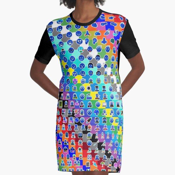 Emojis on Background of Colored Squares. Смайлики на фоне цветных квадратов Graphic T-Shirt Dress