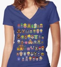 Super Smash Bros Wii U - Pixel Art Characters Women's Fitted V-Neck T-Shirt