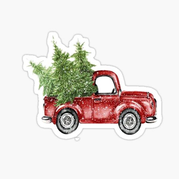 Vintage Red Christmas Truck Sticker