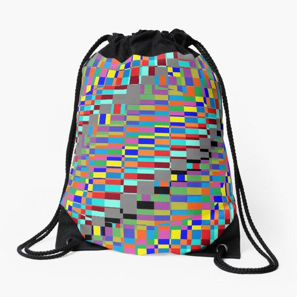 Trippy Colored Squares Drawstring Bag