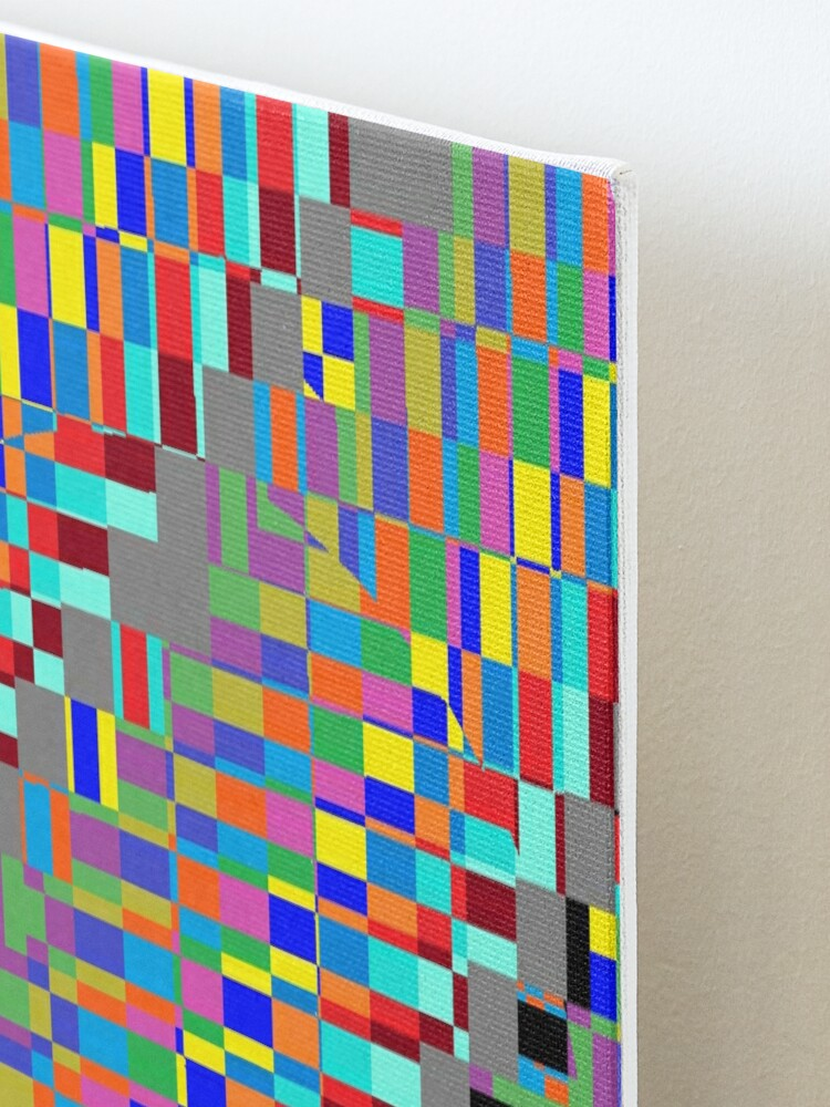 Alternate view of Trippy Colored Squares Mounted Print