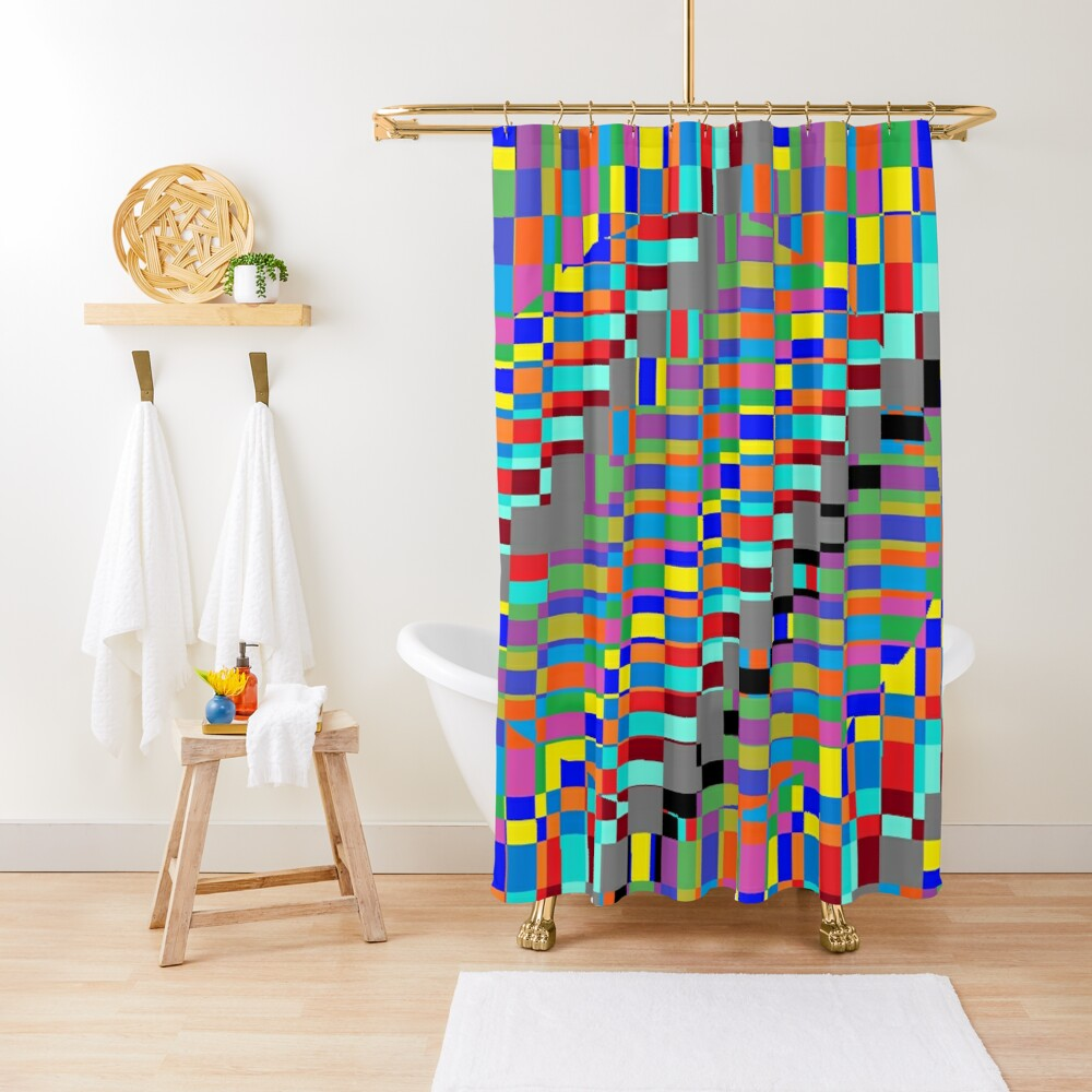 Trippy Colored Squares Shower Curtain