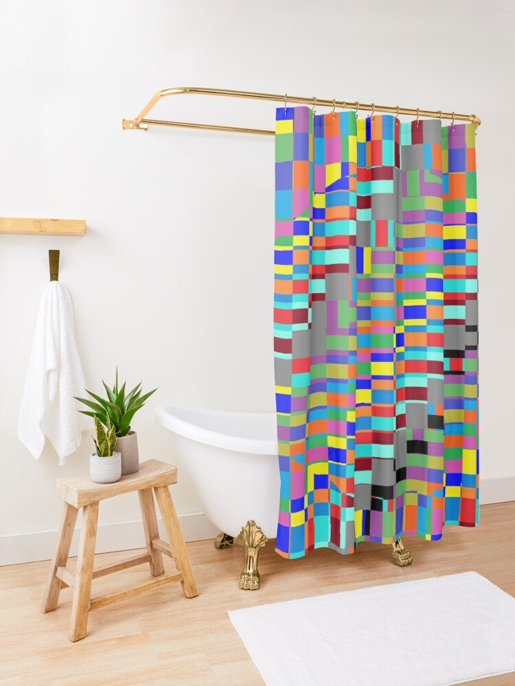 Alternate view of Trippy Colored Squares Shower Curtain