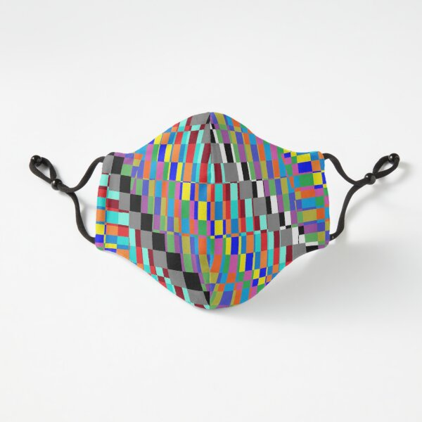 Fitted Masks, Horizontal Trippy Colored Squares Fitted 3-Layer