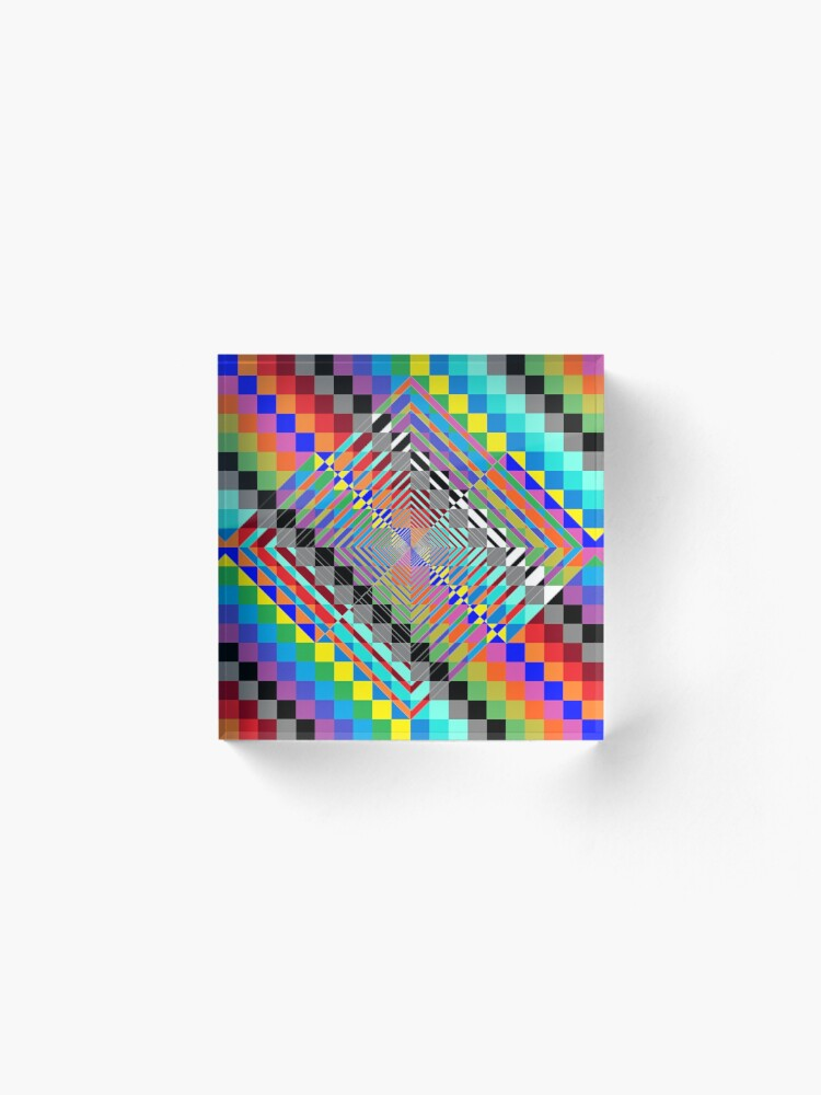Alternate view of Trippy Colored Squares Acrylic Block