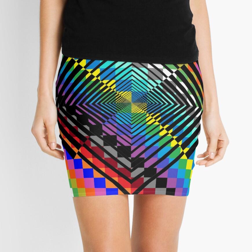 Trippy Colored Squares Mini Skirt