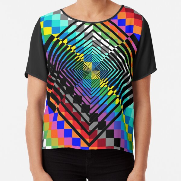 Trippy Colored Squares Chiffon Top