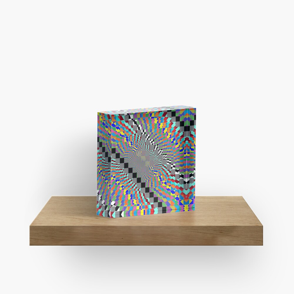 Trippy Colored Squares Acrylic Block