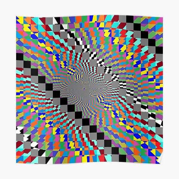 Trippy Colored Squares Poster