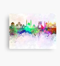 Tehran skyline in watercolor background Canvas Print