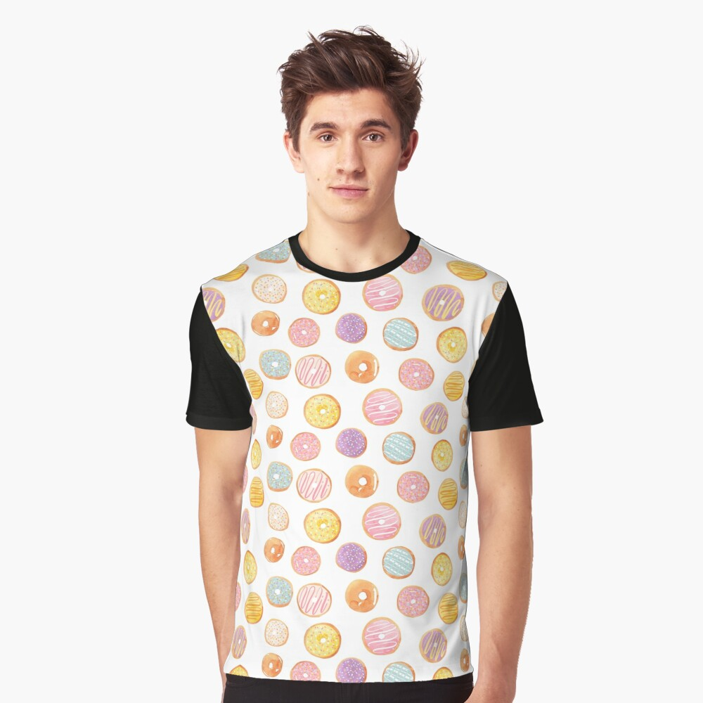 Watercolor Donuts - Rainbow Pastel Graphic T-Shirt