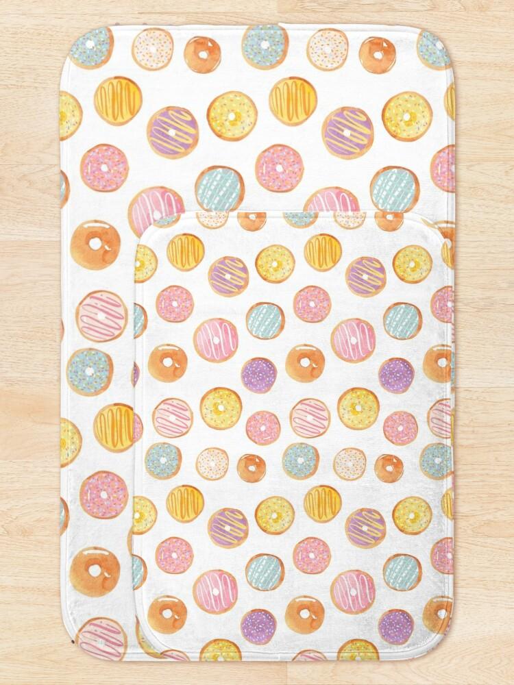 Alternate view of Watercolor Donuts - Rainbow Pastel Bath Mat