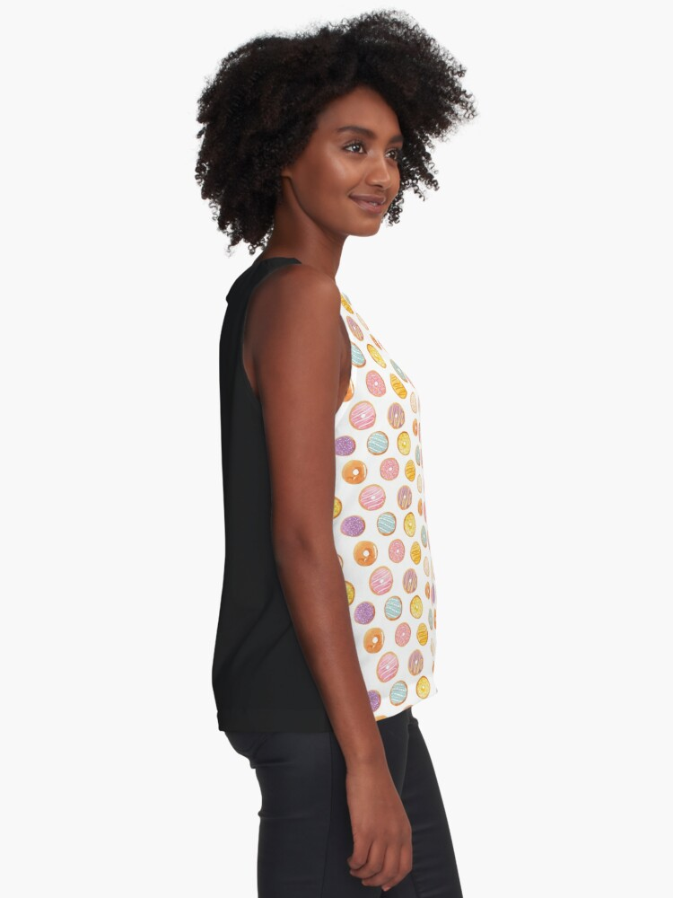 Alternate view of Watercolor Donuts - Rainbow Pastel Sleeveless Top