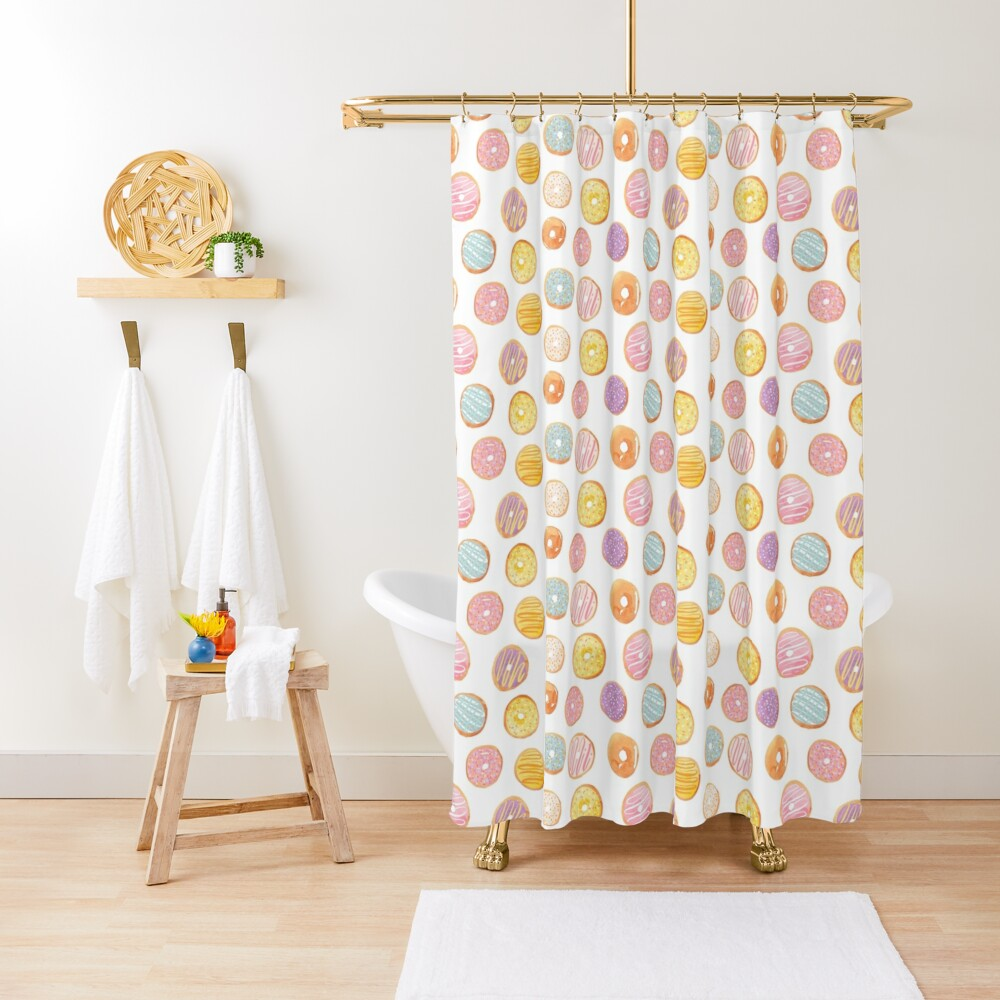 Watercolor Donuts - Rainbow Pastel Shower Curtain