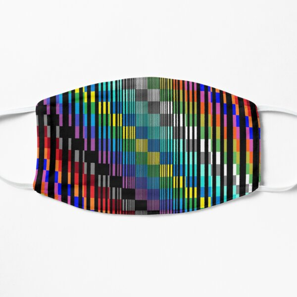 Vertical Trippy Colored Squares Flat Mask