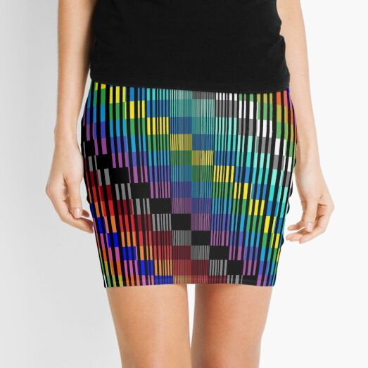 Vertical Trippy Colored Squares Mini Skirt