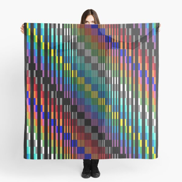 Vertical Trippy Colored Squares Scarf